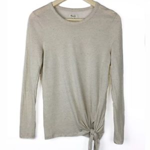 Madewell Women's Knit Long Sleeve Top Front Tie